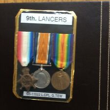 WW 1 1914- 15 star trio,medals,9th Lancers Tew