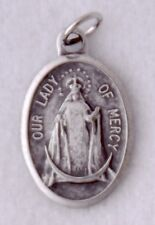 OL OUR LADY of MERCY Oxidized Silver Nickel Catholic Patron Saint Medal NEW