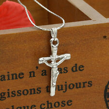 New Boy Girl Kid Size Stainless Steel Silver Jesus Cross Pendant Necklace Chain
