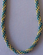 """Braided, Bullion, Rope Necklace. 18"""" Turquoise & Gold. Artisan Handcrafted"""