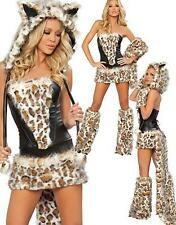 ADULT CAT WOMAN ANIMAL PRINT LEOPARD FUR  FANCY DRESS OUTFIT COSTUME HALLOWEEN