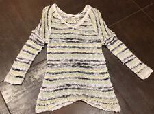 Anthropologie Free People Boho Stretch Knit Cream Sheer Dress Size XS 36 Bust