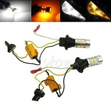 1Pair 7440 T20 Single-Filament Dual-Color LED Switchback DRL Turn Signal Light