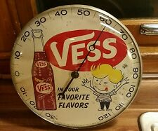 Rare VESS soda pop round Pam advertising thermometer sign coca oil ford Olds hot