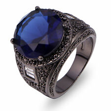 Size 10 Blue Sapphire 18K Black Gold Filled Woman's Man's Wedding Ring Gift