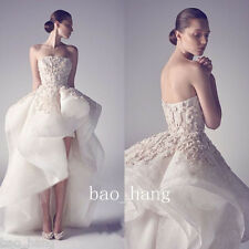 Strapless High-Low Wedding Dresses Ruffles Sleeveless Bridal Gowns Ivory Custom