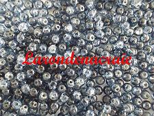 100 perles en verre craquelé BLEU JEAN  4mm
