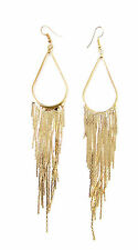 Long Gold Chain Metal Tassel Earrings Drop Boho Festival Hook Chandelier Vtg 964