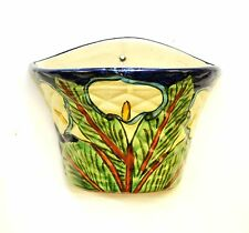 "Mexican Pottery Talavera Wall Planter, Lily Flower-7""H x 8.75""W."