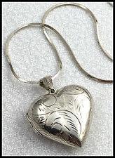 """VINTAGE .925 Sterling Silver - Large Etched Heart Locket Pendant Necklace 23.5"""""""