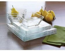 Mainstays 12-Piece Square Glass Dinnerware Set, New Free Shipping, No Sales Tax~