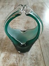 BEAUTIFUL VINTAGE MURANO ITALIAN ART GLASS BASKET ASHTRAY GREEN WHITE CLEAR