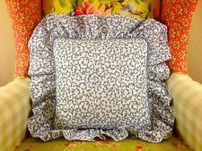 NWOT CROSCILL BLUE FILIGREE SAVOY SCROLL SHABBY CHIC RUFFLED TOSS THROW PILLOW