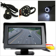 "Car Rear View Backup 4.3"" Display Monitor+8LED Night Vision HD Camera &Drill Kit"