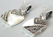 UNIQUE LADY'S MARCASITE 925 STERLING SILVER SQUARE OPAL DANGLE EARRING