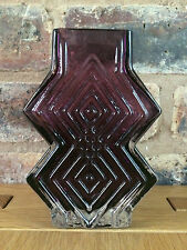 "Rare Whitefriars Glass Aubergine 6"" Double Diamond 9759 Vase by Geoffrey Baxter"