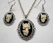 GUARDIAN ANGEL CAMEO Pendant NECKLACE and EARRING Set - Antiiqued Silver