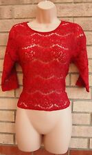 BURGUNDY LACE BUTTONED BACK CROP CAMI  BLOUSE TOP T SHIRT TUNIC S 8 10