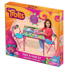 Pixar Trolls Kids Activity Folding Table and Two Chairs Set NEW
