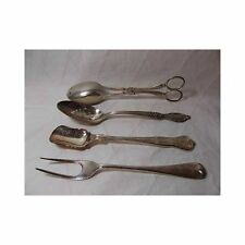 Vtg Lot of 4 SILVERPLATE SERVING UTENSILS Salad Tongs roux Slotted Spoon fork