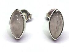 Handmade 925 Sterling Silver 11mm x 6mm Rose Quartz Marquise Pip Stud Earrings