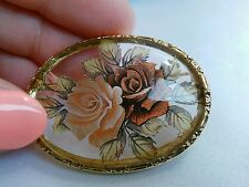 Vintage Romantic Rose Roses clear Lucite Brooch Pin Gold