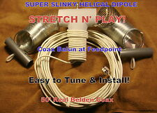 SUPER SLINKY DIPOLE HF ALL BAND ANTENNA, BALUN,50' REAL BELDEN COAX