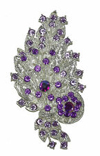 New silver Purple flower leaves Rhinestone Crystal Pin Brooch wedding party #9