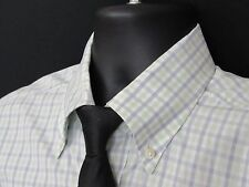Loro Piana Dress Shirt,100% Cotton,Green&Blue Check, Button Down Collar, L/S,*16