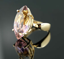 Solid 14k Yellow Gold 5.3g Bi-Color Ametrine Lavender Ring sz 6