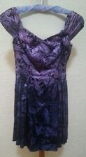 Original Vintage 80s Purple Taffeta Pattern Dress Hens Party Prom