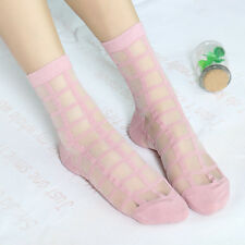 Fashion Women Vintage Clear Lace Check Grid Ruffle Frilly Ankle Socks Stockings