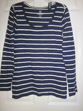 *NEW Old Navy Womens Long Sleeve Patterned-Sequin Blue Navy Stripe Print Top  M