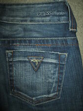 GUESS Capri Crop Stretch Medium Blue Denim Jeans Womens Size 24 x 24.5 USA
