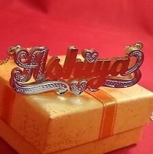 NAME PLATE STERLING SILVER PERSONALIZED CHOOSE NAME  NECKLACE(YellowGold Plated)