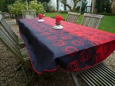 Tischdecke Provence 150x240 cm oval rot schwarz aus Frankreich, pflegeleicht