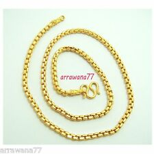"18K 22K 24K THAI BAHT YELLOW GOLD GP Filled NECKLACE 24"" Jewelry  N169"