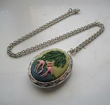 Retro PINK FLAMINGO Cameo SILVER PLATED LOCKET Pendant NECKLACE KITSCH