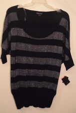 NWT BABY PHAT Women's Plus 1X Black Silver Striped Knit Scoop Neck Blouse Top