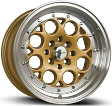 16X8 AVID.1 WHEELS AV-16 4X100/114.3 +15MM GOLD FITS ACURA INTEGRA VW JETTA FOX