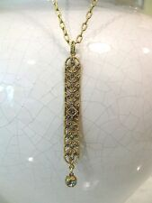 NWT  La Vie Parisienne Long Gold Crystal Art Deco Bar Necklace 811G Shade ~ NEW!