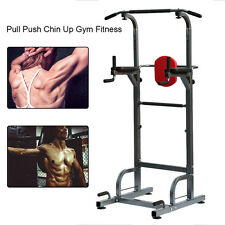 Heavy Duty Dip Station Power Tower Pull Push Chin Up Bar Home Gym Fitness Core H