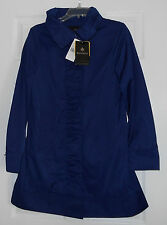 Rainforest Cobalt(Blue) Travel Rain Jacket Coat w/Hood Rouched Front Small NWT