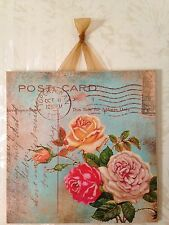 Vintage Shabby Roses Blue Sign Plaque Wall Decor French Country Chic Paris