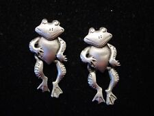 """JJ"" Jonette Jewelry Silver Pewter DANCING FROG Earrings ~ Legs Move!"