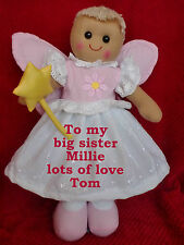 PERSONALISED RAG DOLL FAIRY ANGEL TO MY BIG / LITTLE SISTER NEW BABY  GIFT