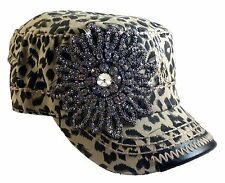 Olive and Pique Super Bling Cadet Cap! Beautiful Rhinestone Beaded Flower