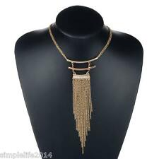 Fashion Golden Double Long Chain Costume Jewelry Tassel Pendant Sweater Necklace