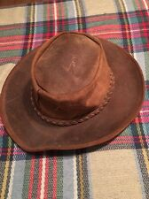 Minnetonka Western Cowboy Outback Leather Brown Hat Size Medium USA Made