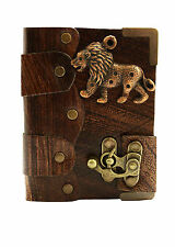 Lion Pendant Brown Leather Journal / Diary / Sketchbook / Leatherbound / Lock